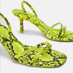 Zara Neon Snake Print Heel (Size 7)